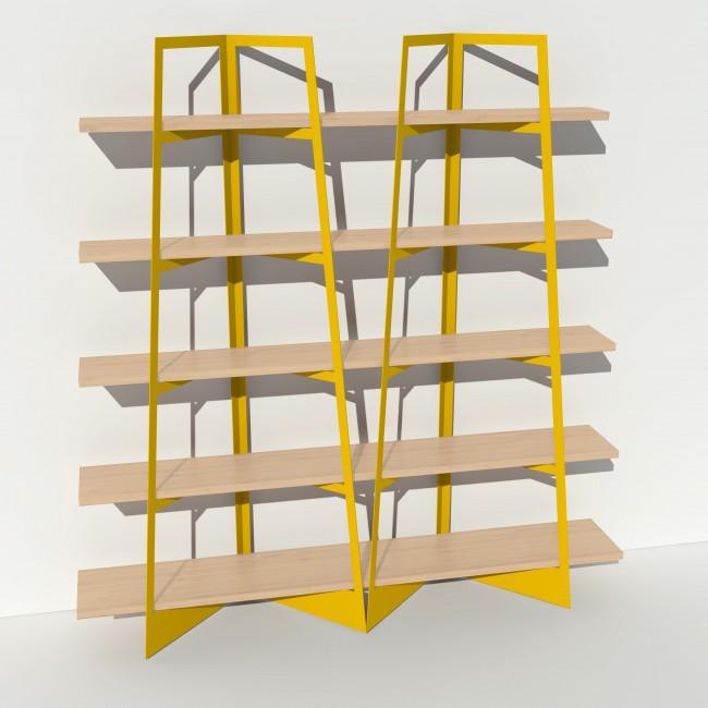 Bibliothèque placage bouleau et métal - Jaune - 2 m largeur x 2,05 m hauteur