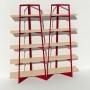 Bibliothèque placage bouleau et métal - Rouge - 2 m largeur x 2,05 m hauteur
