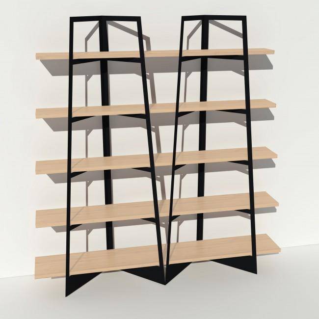 Bibliothèque placage bouleau et métal - Noir - 2 m largeur x 2,05 m hauteur