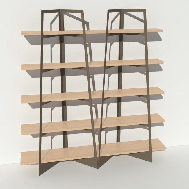 Bibliothèque placage bouleau et métal - Taupe - 2 m largeur x 2,05 m hauteur