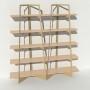 Bibliothèque placage bouleau et métal - Beige - 2 m largeur x 2,05 m hauteur