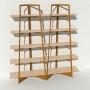 Bibliothèque placage bouleau et métal - Laiton-Bronze - 2 m largeur x 2,05 m hauteur