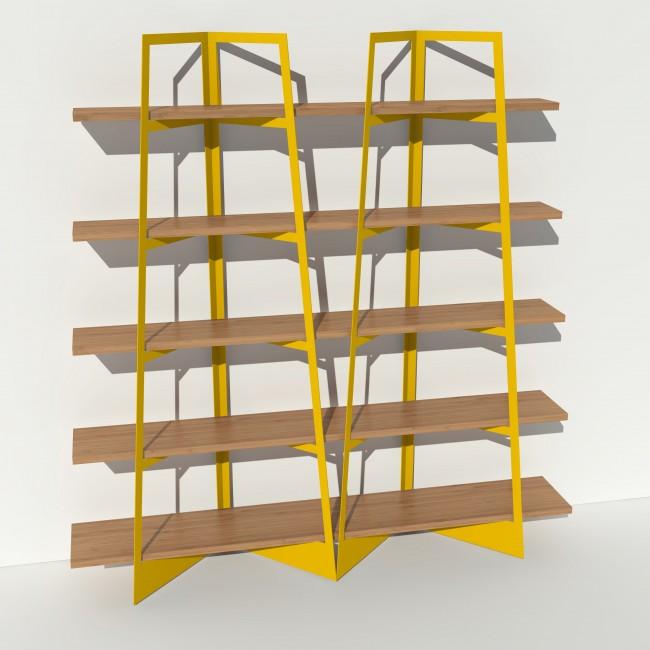 Bibliothèque chêne massif et métal - Jaune - 2 m largeur x 2,05 m hauteur