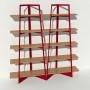 Bibliothèque chêne massif et métal - Rouge - 2 m largeur x 2,05 m hauteur