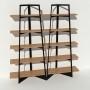 Bibliothèque chêne massif et métal - Noir - 2 m largeur x 2,05 m hauteur