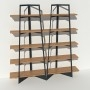 Bibliothèque chêne massif et métal - Anthracite - 2 m largeur x 2,05 m hauteur