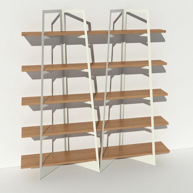 Bibliothèque chêne massif et métal - Blanc - 2 m largeur x 2,05 m hauteur