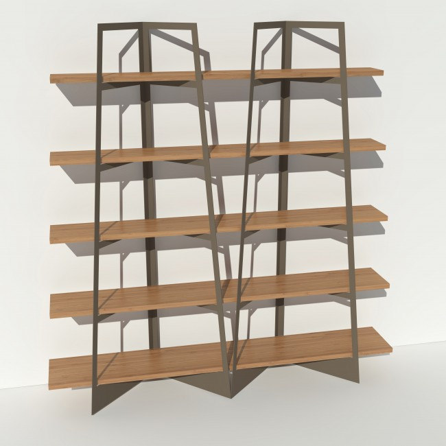 Bibliothèque chêne massif et métal - Taupe - 2 m largeur x 2,05 m hauteur