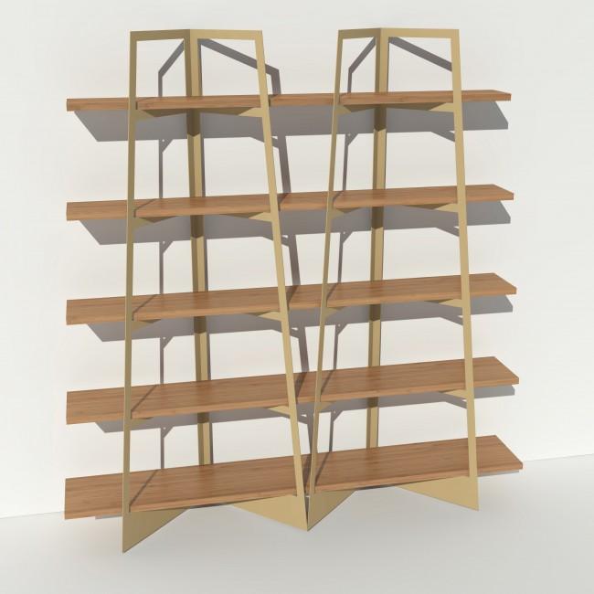 Bibliothèque chêne massif et métal - Beige - 2 m largeur x 2,05 m hauteur