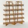 Bibliothèque chêne massif et métal - Laiton-Bronze - 2 m largeur x 2,05 m hauteur