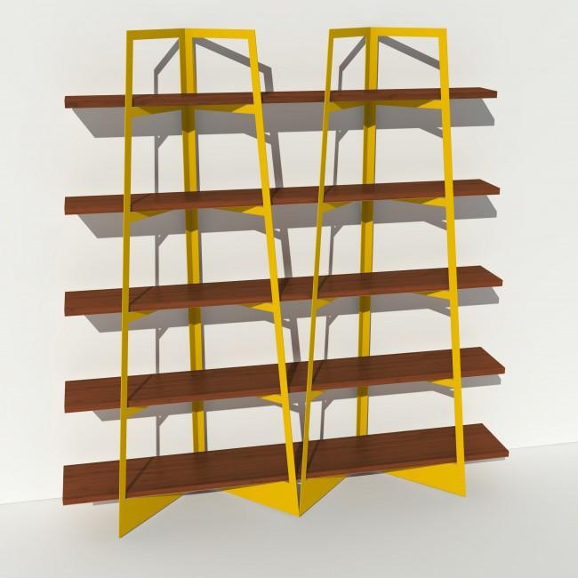 Bibliothèque placage noyer - Jaune - 2 m largeur x 2,05 m hauteur