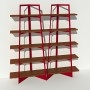 Bibliothèque placage noyer - Rouge - 2 m largeur x 2,05 m hauteur