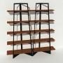 Bibliothèque placage noyer - Noir - 2 m largeur x 2,05 m hauteur