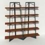 Bibliothèque placage noyer - Anthracite - 2 m largeur x 2,05 m hauteur