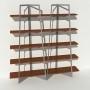 Bibliothèque placage noyer - Gris - 2 m largeur x 2,05 m hauteur