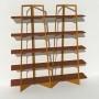 Bibliothèque placage noyer - Laiton-Bronze - 2 m largeur x 2,05 m hauteur
