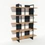 Bibliothèque chêne massif et métal - Anthracite - Larg 1,4 m x Haut 1,9 m
