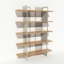 Bibliothèque chêne massif et métal - Blanc - Larg 1,4 m x Haut 1,9 m