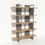 Bibliothèque chêne massif et métal - Gris - Larg 1,4 m x Haut 1,9 m