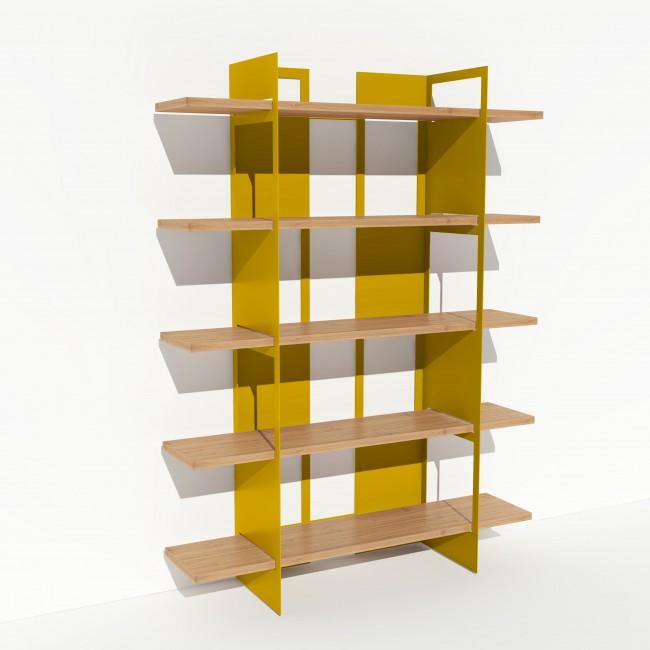 Bibliothèque chêne massif et métal - Jaune - Larg 1,4 m x Haut 1,9 m