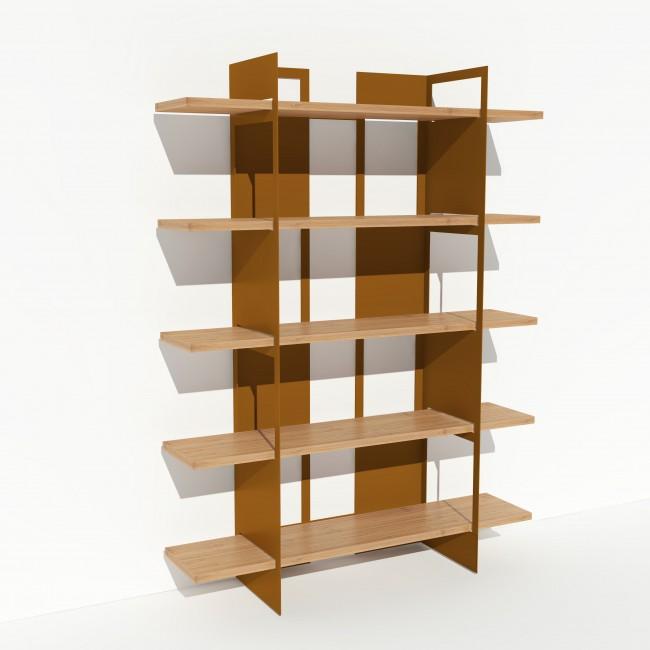 Bibliothèque chêne massif et métal - Laiton-Bronze - Larg 1,4 m x Haut 1,9 m