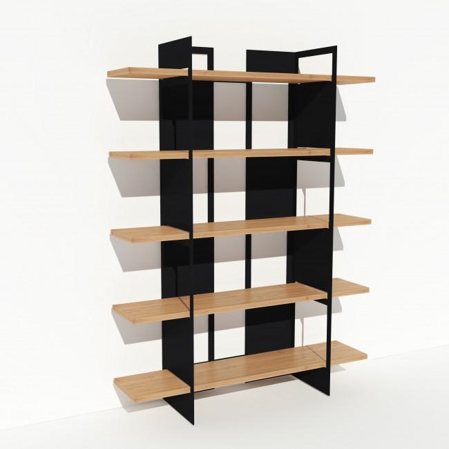 Bibliothèque chêne massif et métal - Noire - Larg 1,4 m x Haut 1,9 m