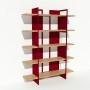 Bibliothèque chêne massif et métal - Rouge - Larg 1,4 m x Haut 1,9 m
