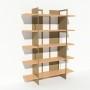 Bibliothèque placage bouleau et métal - Beige - Larg 1,4 m x Haut 1,9 m