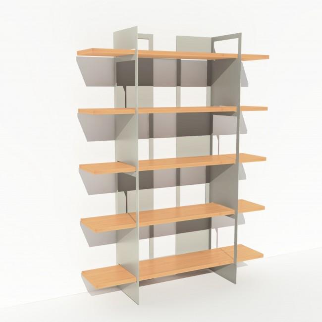Bibliothèque placage bouleau et métal - Blanc - Larg 1,4 m x Haut 1,9 m