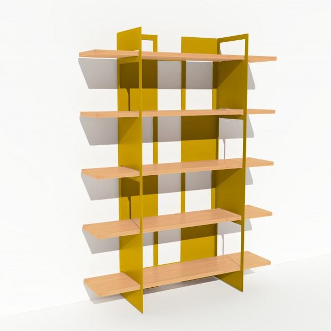 Bibliothèque placage bouleau et métal - Jaune - Larg 1,4 m x Haut 1,9 m