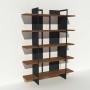 Bibliothèque placage noyer et métal - Anthracite - Larg 1,4 m x Haut 1,9 m