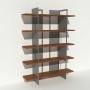 Bibliothèque placage noyer et métal - Gris - Larg 1,4 m x Haut 1,9 m