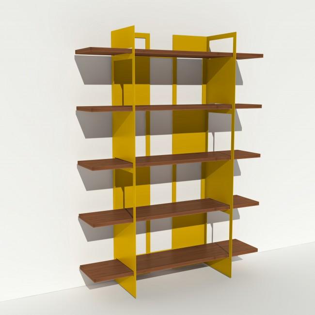 Bibliothèque placage noyer et métal - Jaune - Larg 1,4 m x Haut 1,9 m