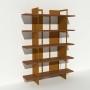 Bibliothèque placage noyer et métal - Laiton-Bronze - Larg 1,4 m x Haut 1,9 m