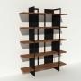 Bibliothèque placage noyer et métal - Noir - Larg 1,4 m x Haut 1,9 m