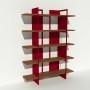 Bibliothèque placage noyer et métal - Rouge - Larg 1,4 m x Haut 1,9 m
