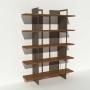 Bibliothèque placage noyer et métal - Taupe - Larg 1,4 m x Haut 1,9 m
