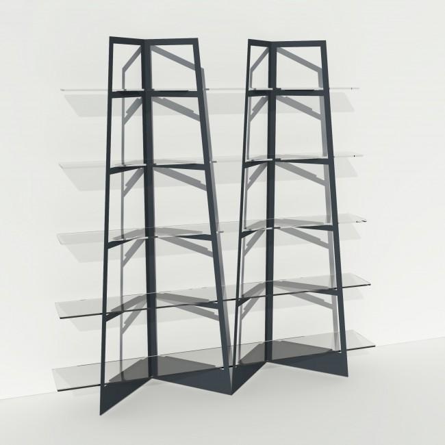 Grande vitrine en verre et métal - Larg 2m x Haut 2,05m - Anthracite