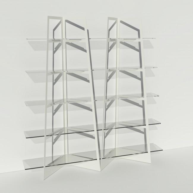 Grande vitrine en verre et métal - Larg 2m x Haut 2,05m - Blanc