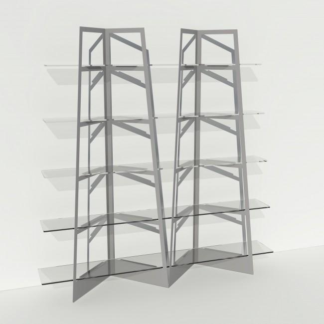 Grande vitrine en verre et métal - Larg 2m x Haut 2,05m - Gris