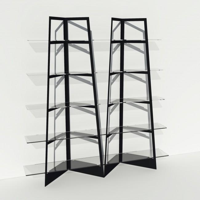 Grande vitrine en verre et métal - Larg 2m x Haut 2,05m - Noir