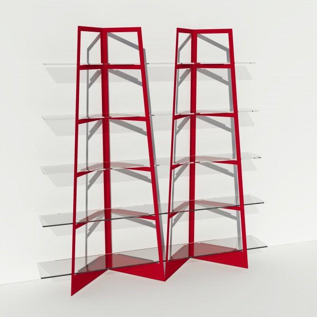 Grande vitrine en verre et métal - Larg 2m x Haut 2,05m - Rouge
