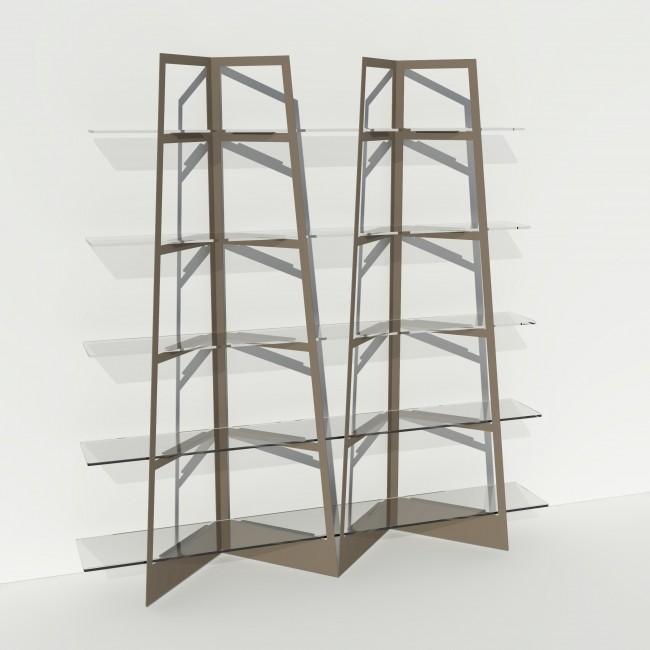 Grande vitrine en verre et métal - Larg 2m x Haut 2,05m - Taupe