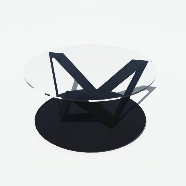 Table basse ronde verre et métal - Noire - Plateau 80 cm - Eclats