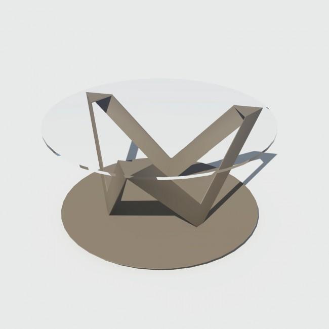 Table basse ronde 80 cm verre et métal sur mesure - Eclats