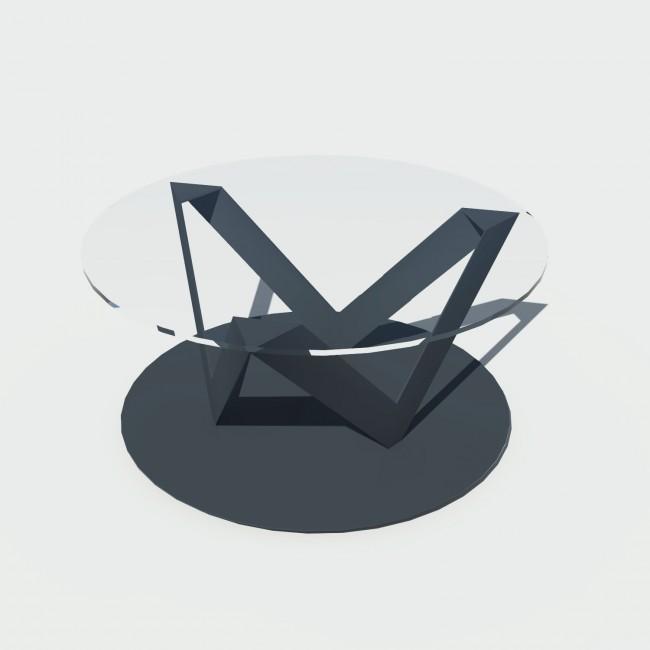 Table basse ronde verre et métal - Anthracite - Plateau 80 cm - Eclats