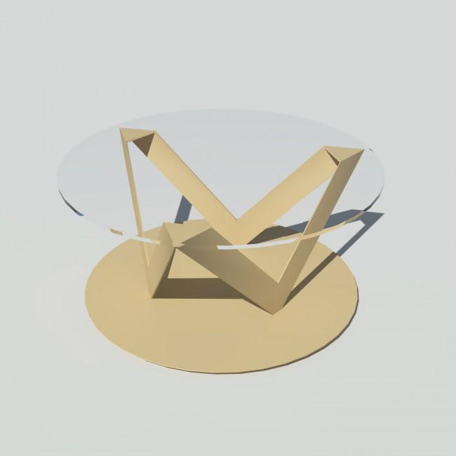 Table basse ronde verre et métal - Beige - Plateau 80 cm - Eclats