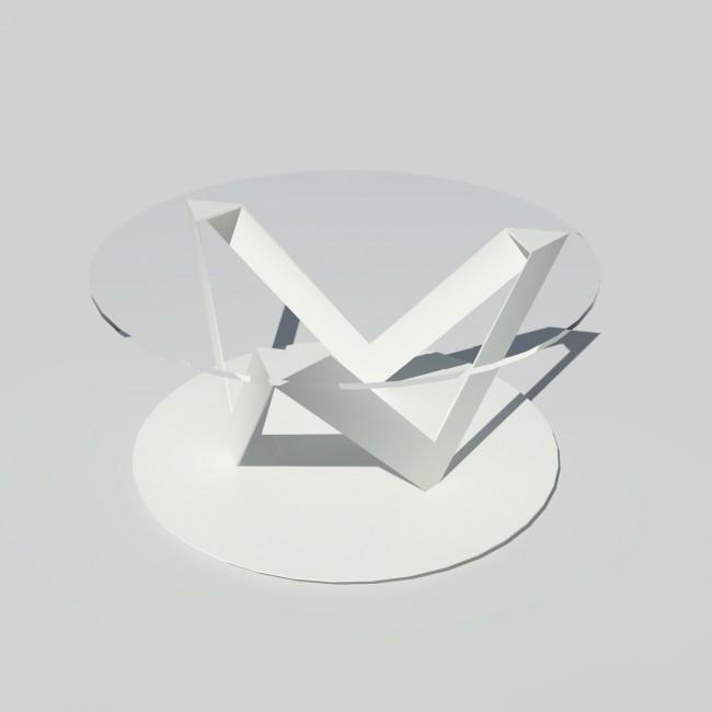 Table basse ronde verre et métal - Blanche - Plateau 80 cm - Eclats