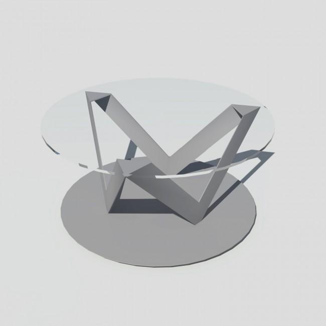 Table basse ronde verre et métal - Grise - Plateau 80 cm - Eclats