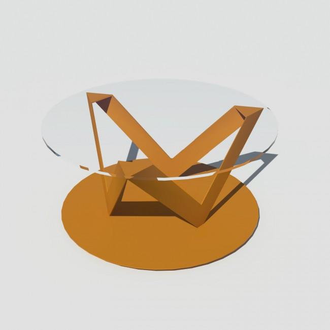 Table basse ronde verre et métal - Laiton-Bronze - Plateau 80 cm - Eclats